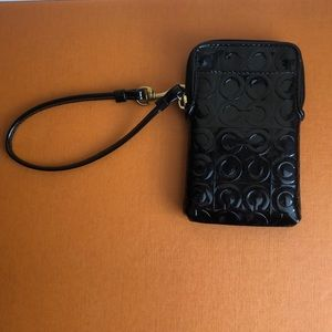 Coach black phone holder